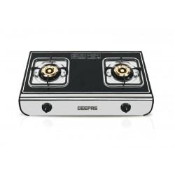 GEEPAS GK6894 Two Burner/Temprd Glass/SS Frame/FFD1x1