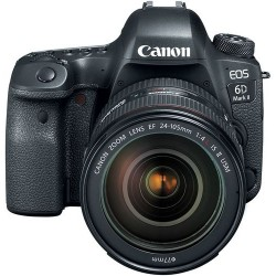 Canon EOS 6D Mark II 24-105mm f4L IS II USM Lens, 26.2 MP DSLR Camera, Black