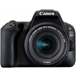Canon EOS 200D EF-S 18-55mm - 24.2 MP, DSLR Camera, Black