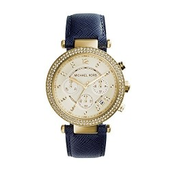 Parker Chronograph Gold-tone Navy Leather Ladies Watch  MK2280